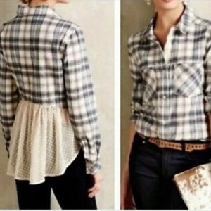 Anthro Holding Horses Plaid Flannel Shirt w/Lace S